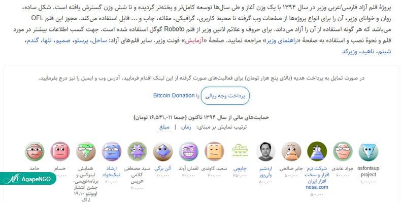 صفحه فونت وزیر که نشان میدهد طراح میدانسته دونیت چیست